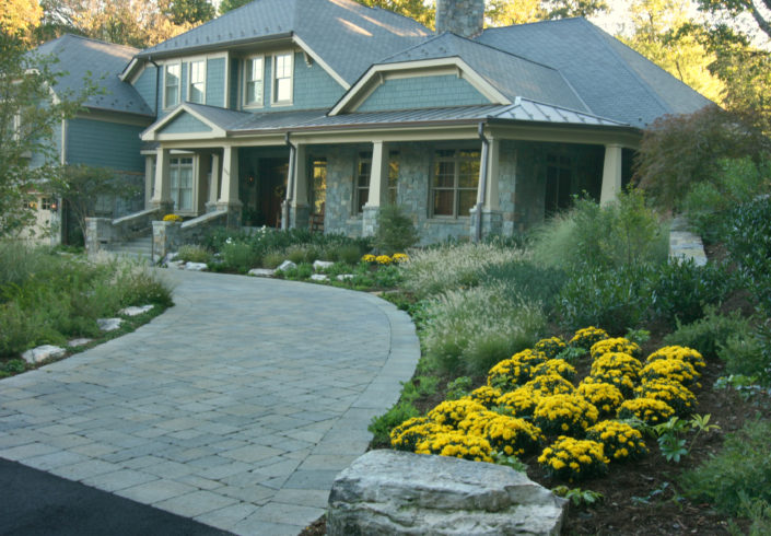 Craftsmen Home, Perennial Foundation Plantings, Stone Driveway