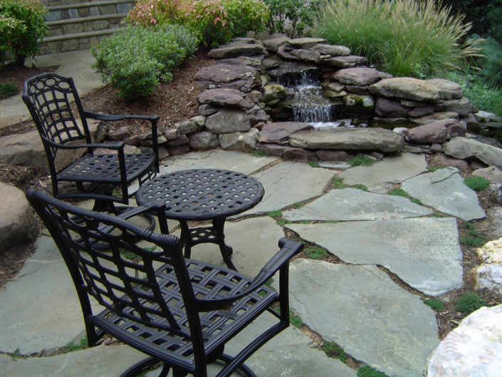 Natural Slate Patio with Water Feature