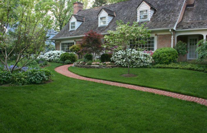 Red Brick Walkway, Azalea Plantings, Japanese Maple