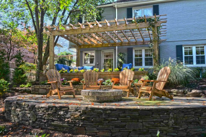 Natural Wood Pergola with Fire Pit