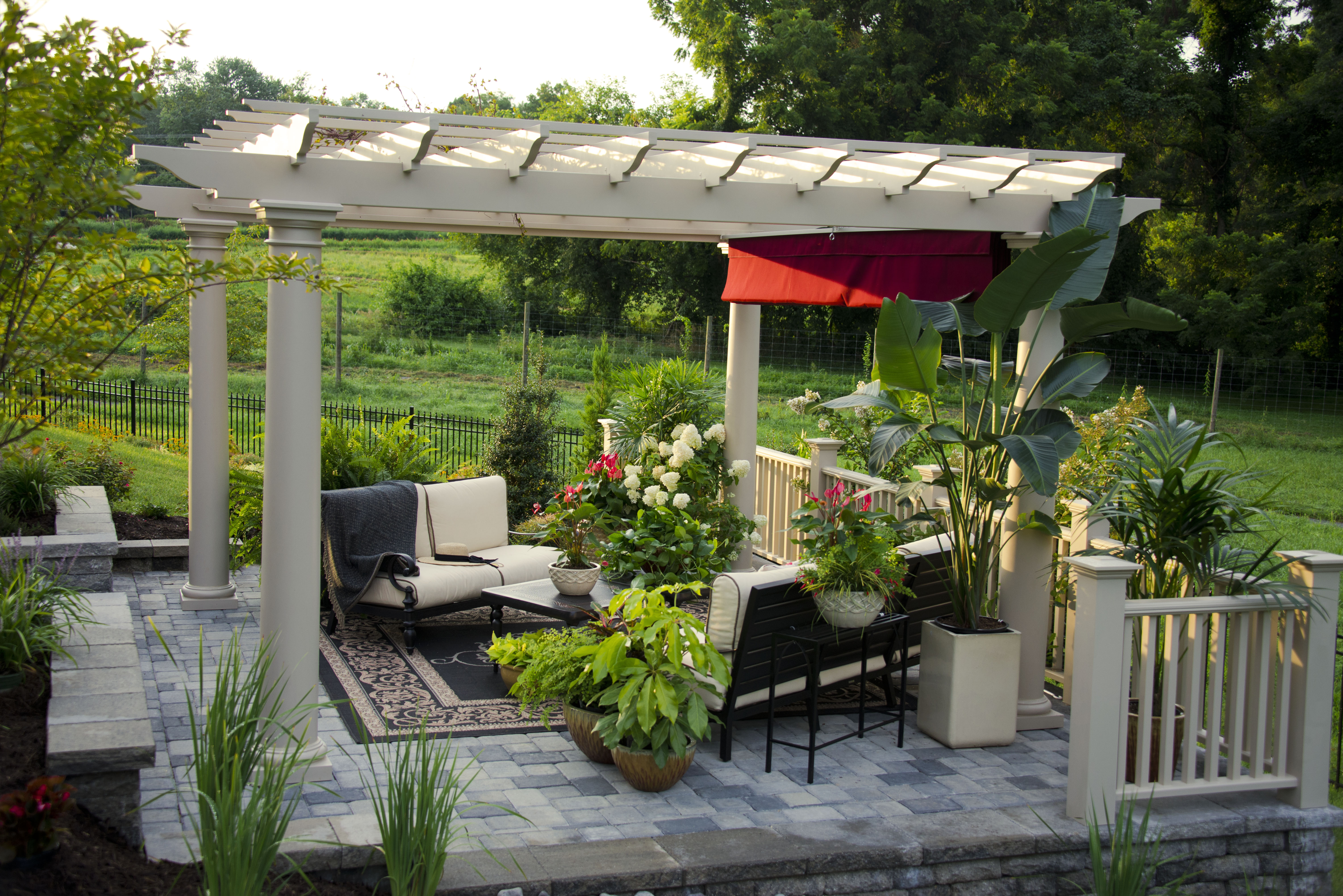 Stone Patio with White Pergola - Merrifield Garden Center on Landscaping And Patios id=58246