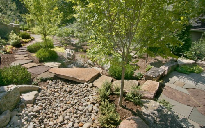 Natural Stone Path, Water Feature, Drainage