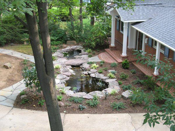Pond with Stone Bridge