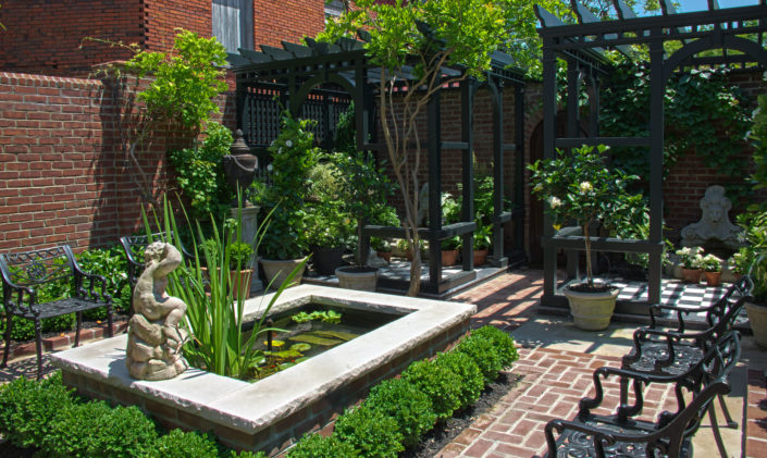Black Pergola with Water Garden