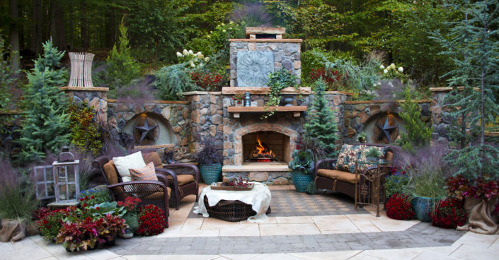 Fireplace and Stone Patterned Patio