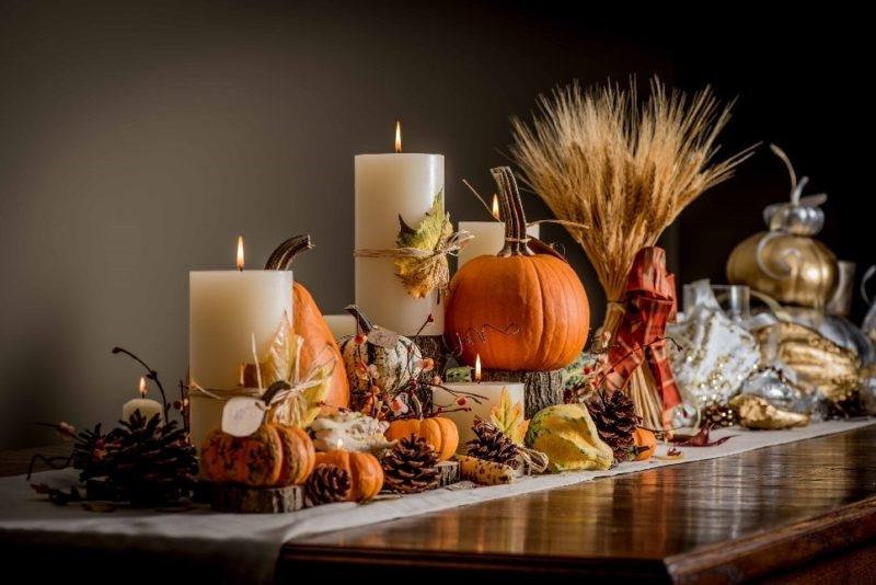Candlelit Harvest Display