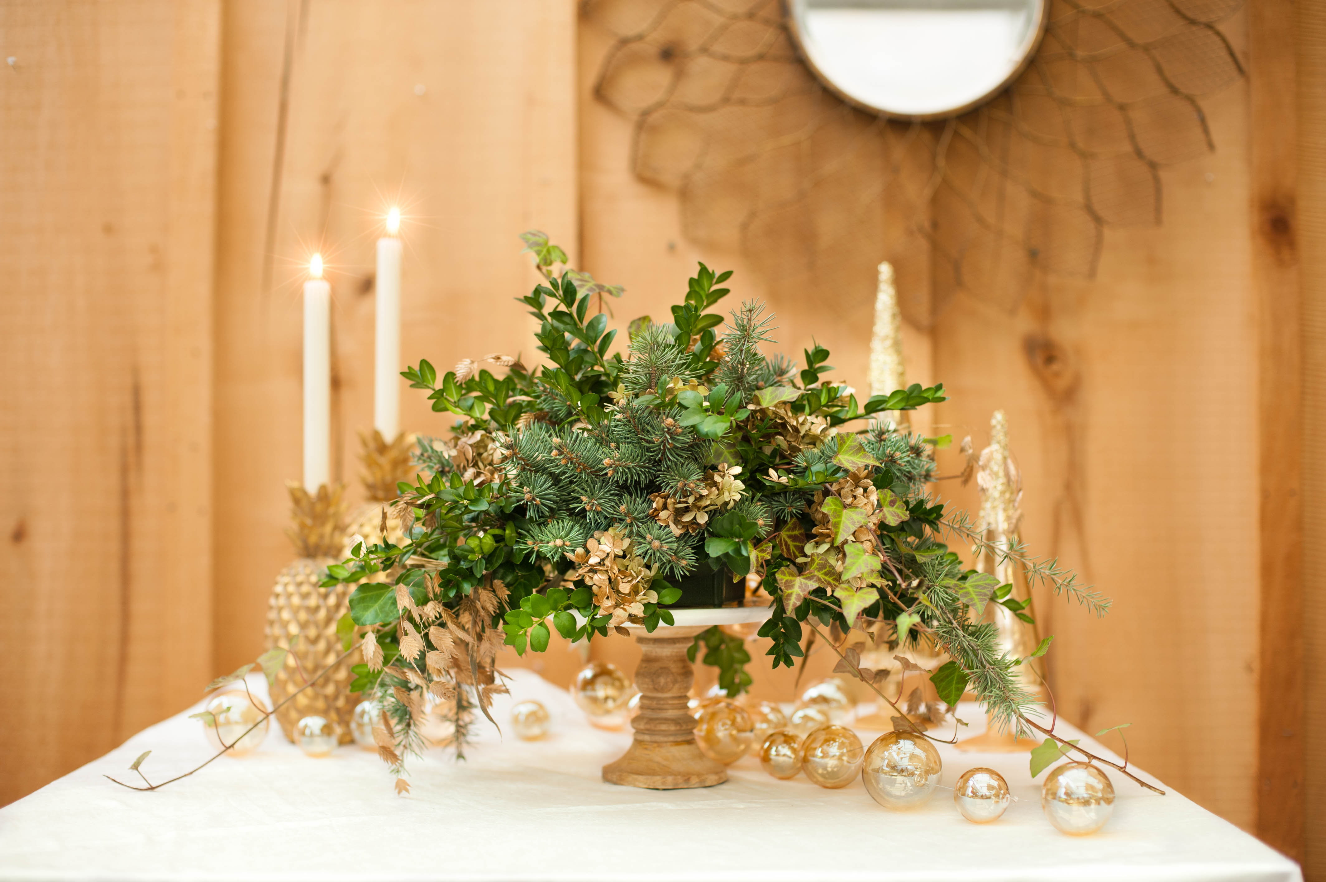 Fresh Greens Centerpiece, Gold and White, Holiday Decor