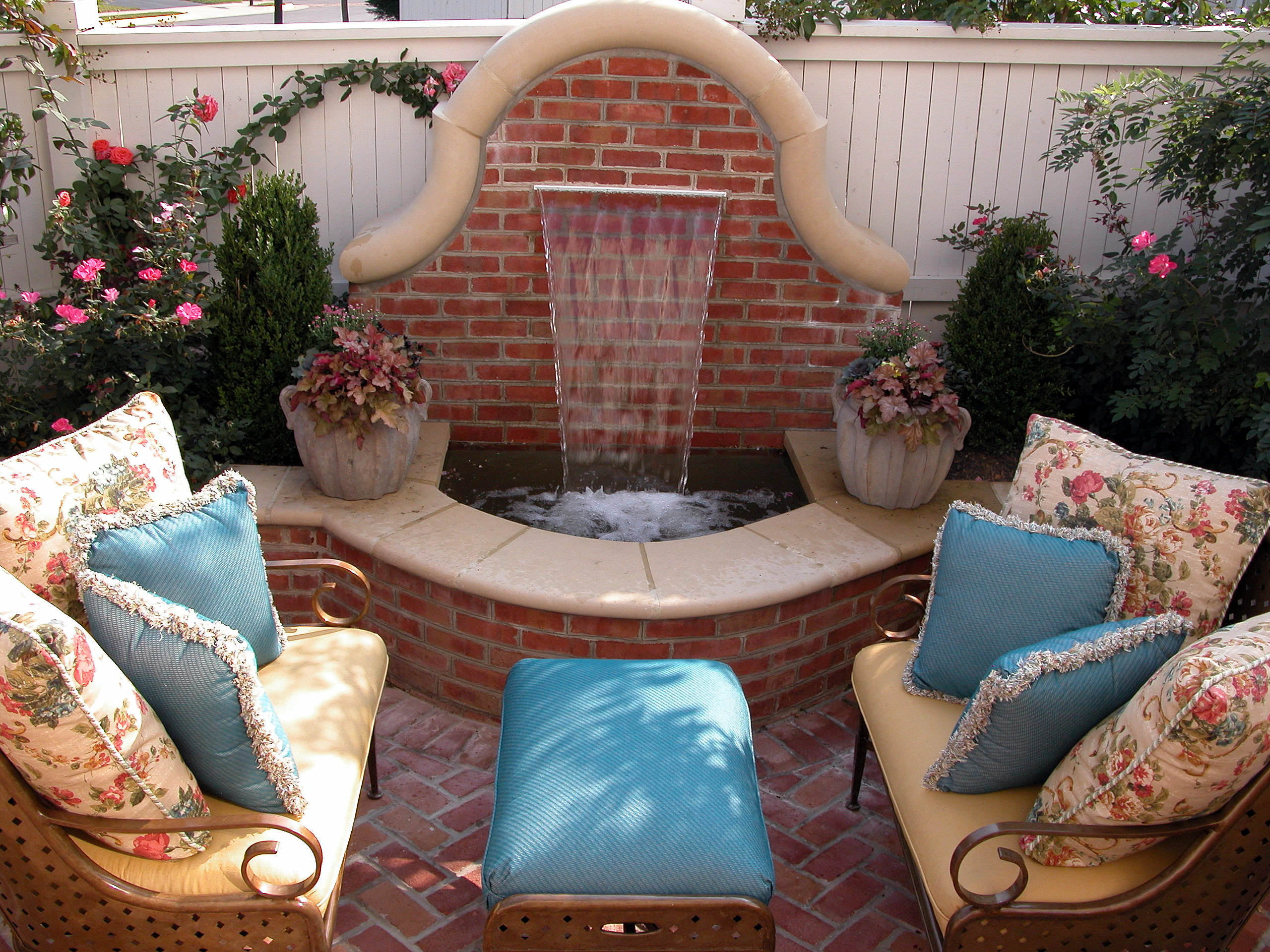 Brick Fountain on Patio