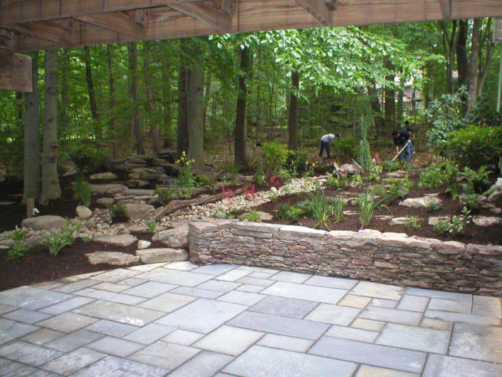 Slate Patio and Stone Wall with Drainage