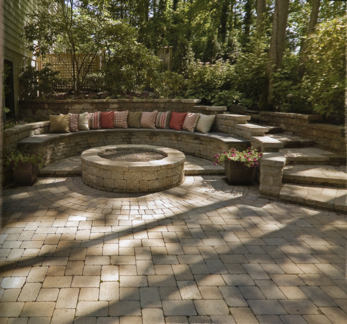 Stone Patio with Bench and Fire Pit