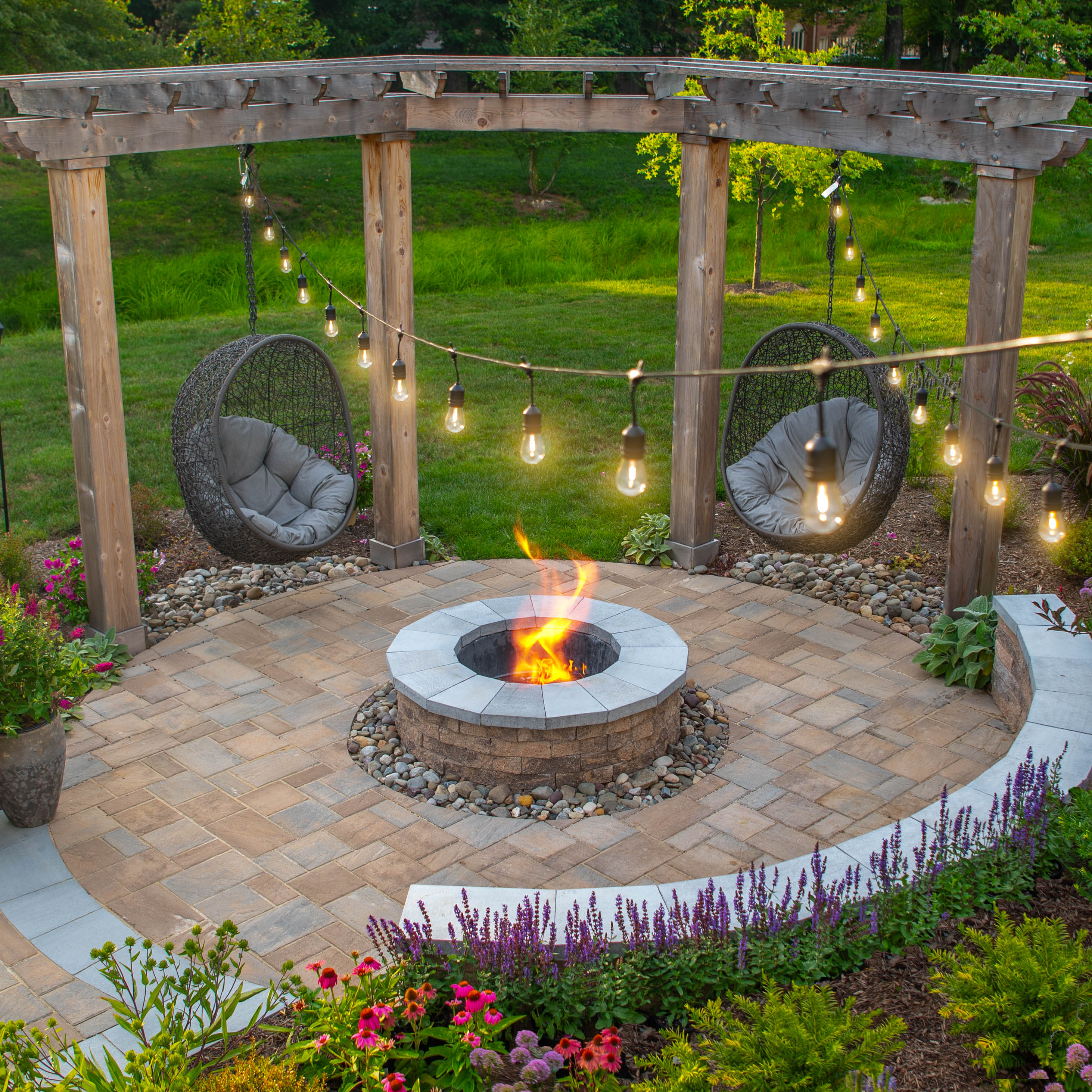 Two-tone Fire Pit with Arbor, natural wood arbor, stone patio