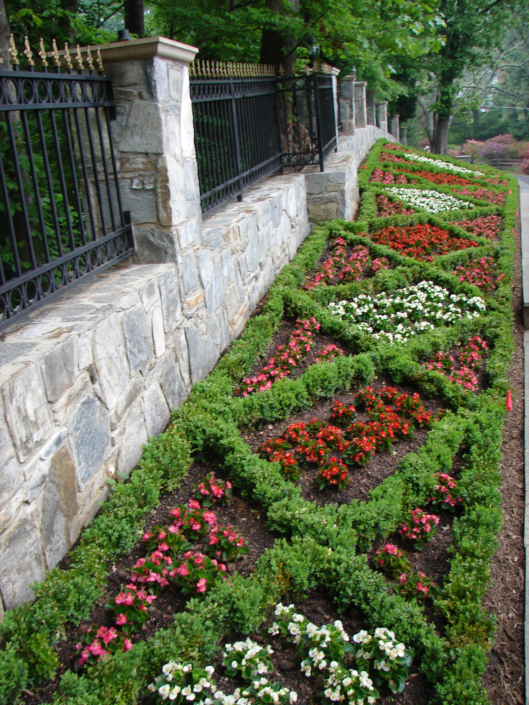 Formal Boxwood and Begonia Plantings