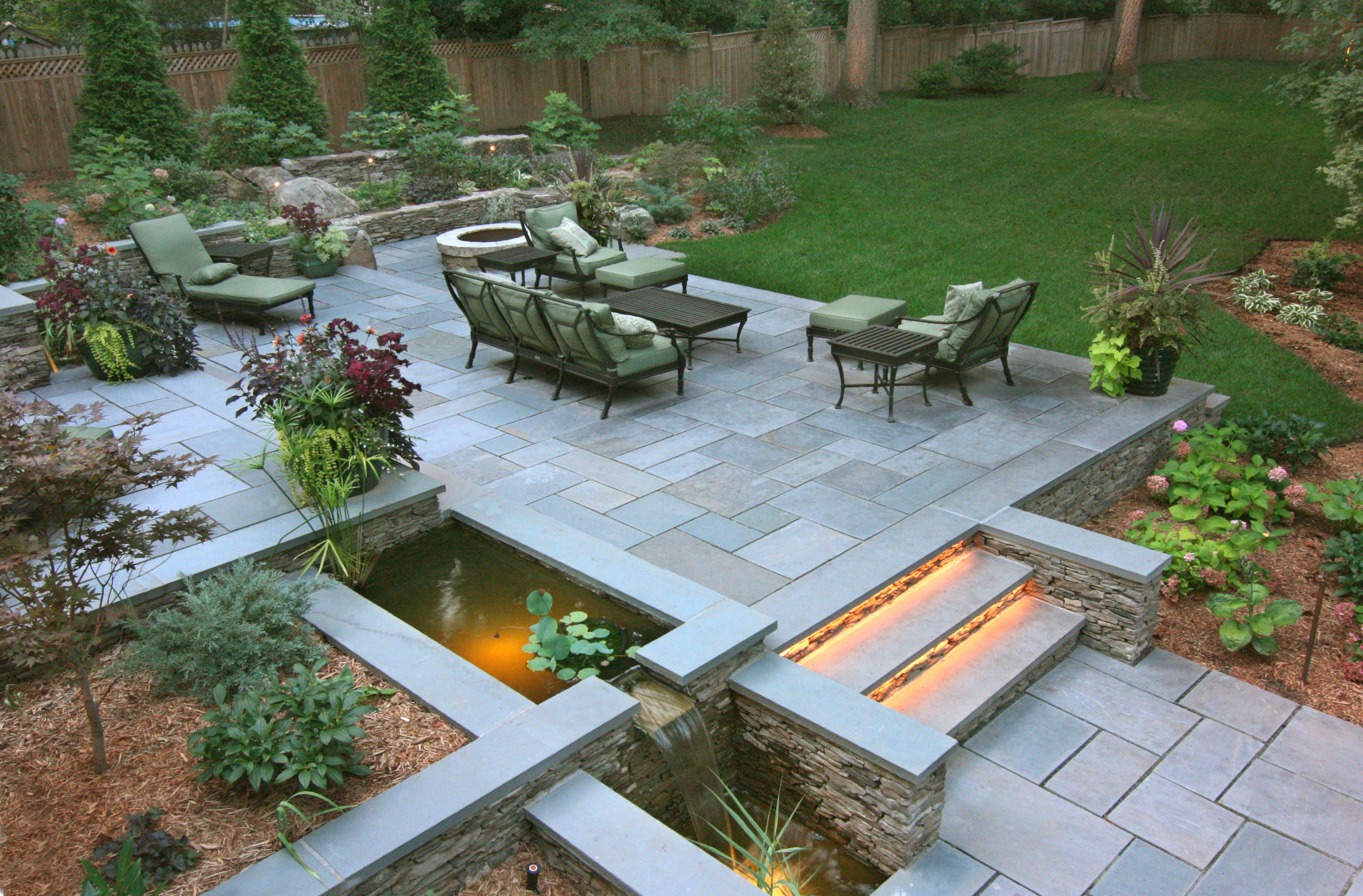 Modern Slate Patio with Fountain