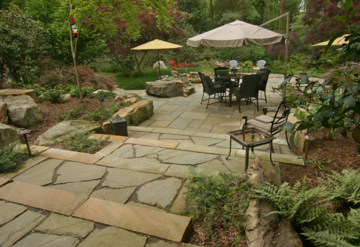 Natural Slate Steps and Patio