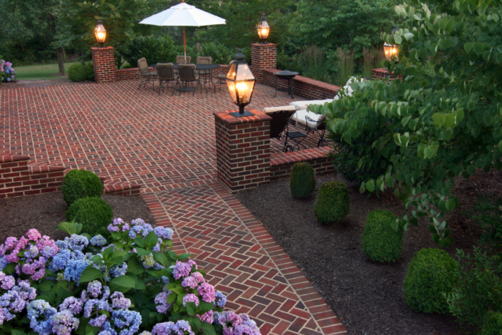 Brick Patio with Lamps