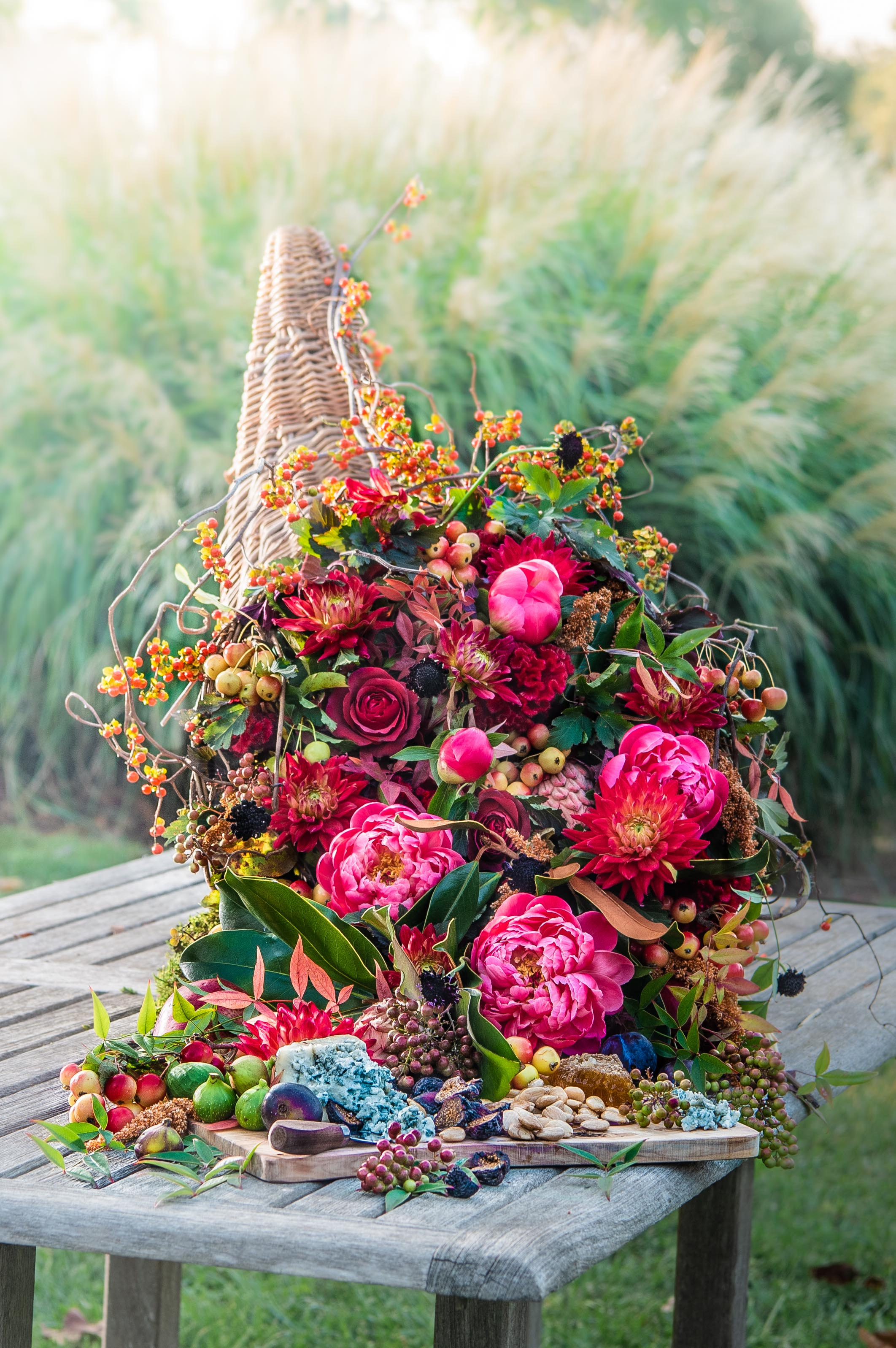 Fall Floral Arrangement, Cornucopia