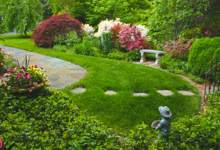 Stone Path and Spring Garden