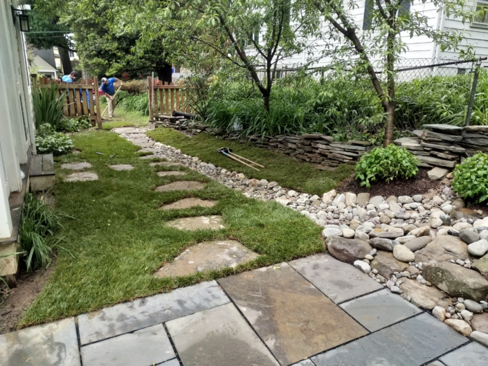 Rain Garden, Stone Path, Stone Wall, Drainage Solutions