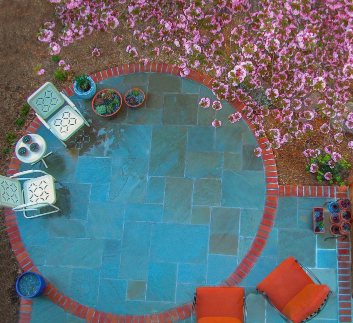 Blue and Red Patio