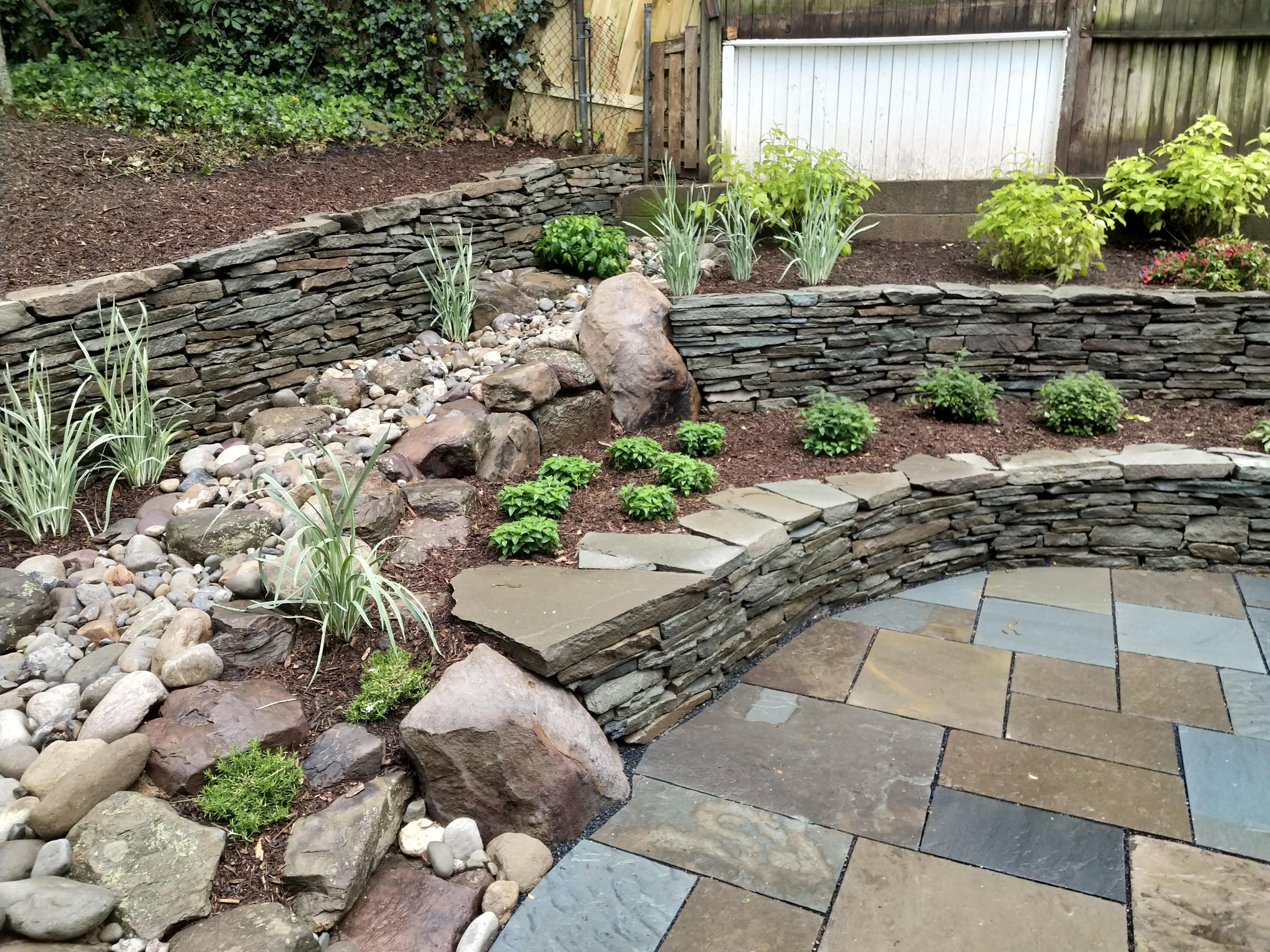Terraced Rain Garden, Drainage, Stone Wall, Slate Patio