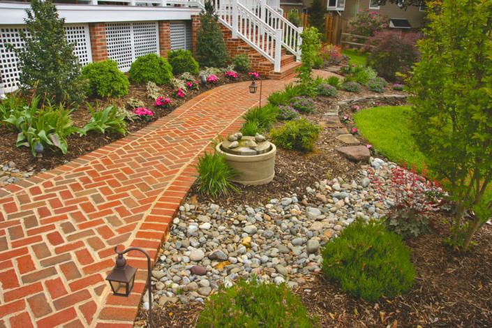 Herringbone Brick Path with Drainage