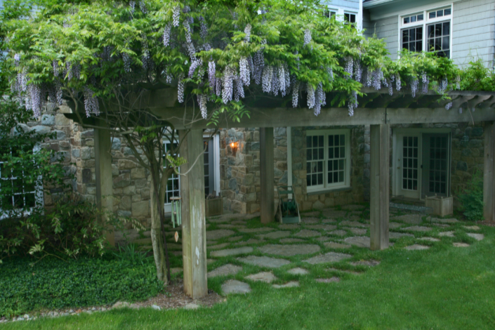 Natural Patio and Pergola with Wisterian