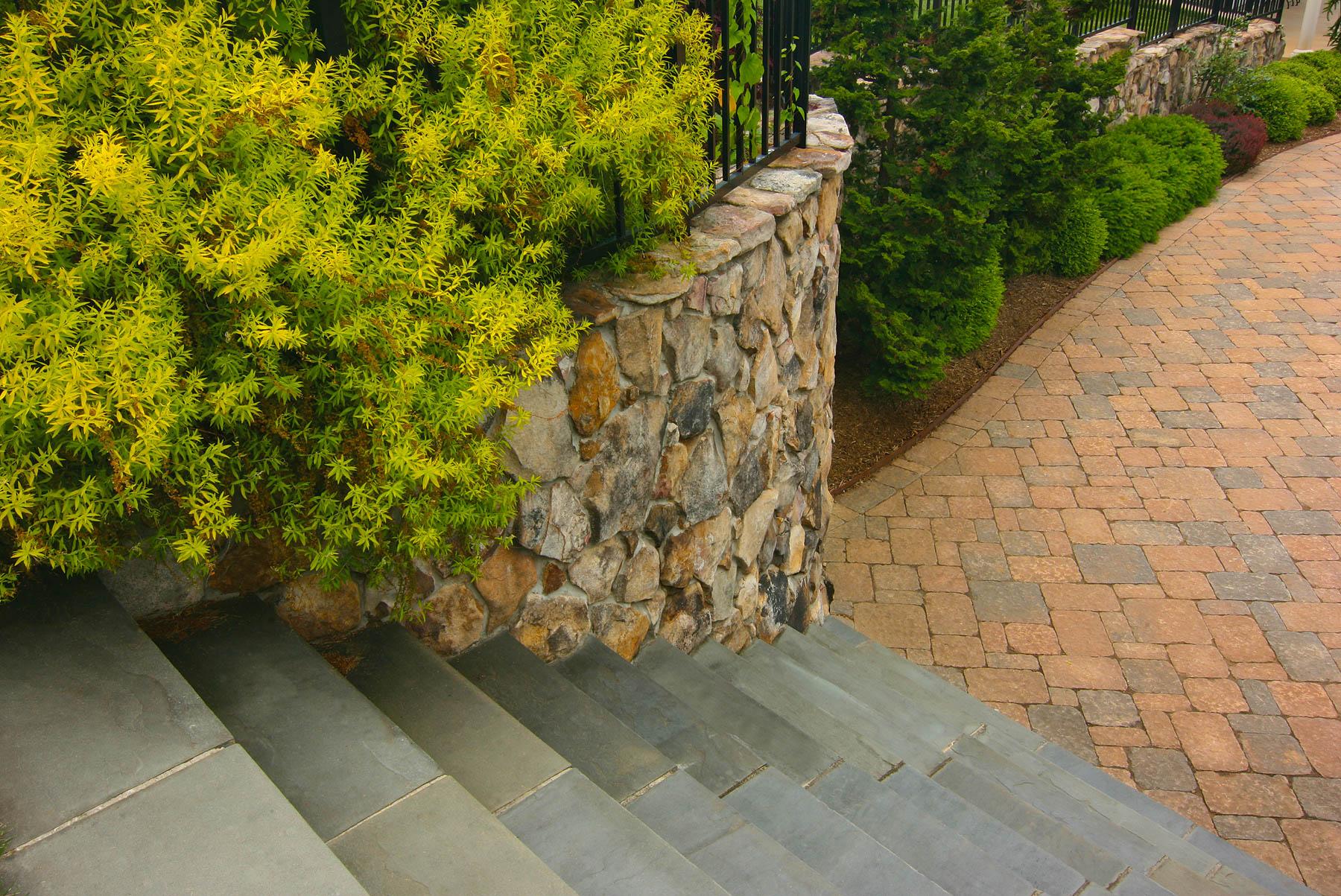 Stone Wall and Slate Steps