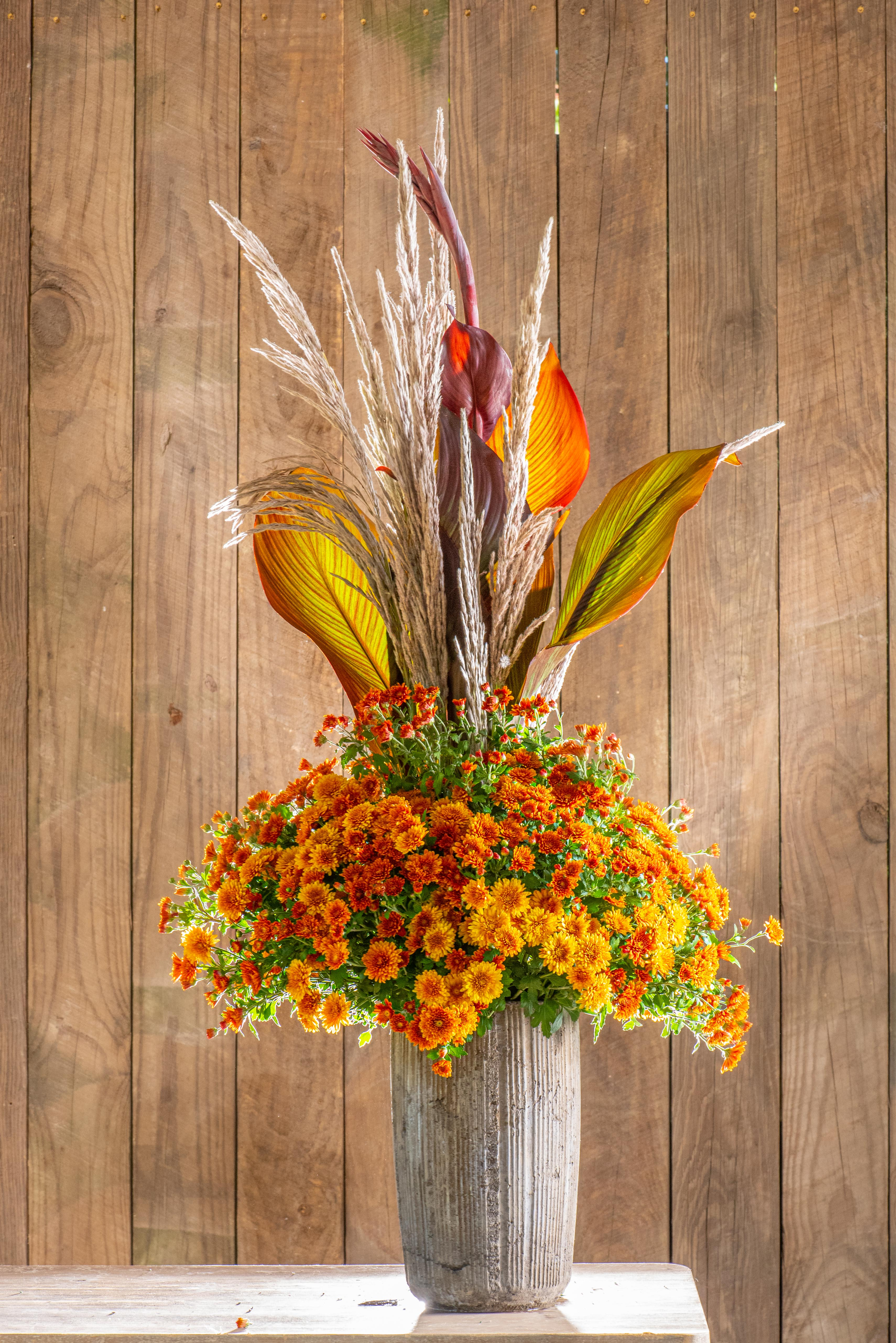 Fall Floral Arrangement with Mums and Dried Grass