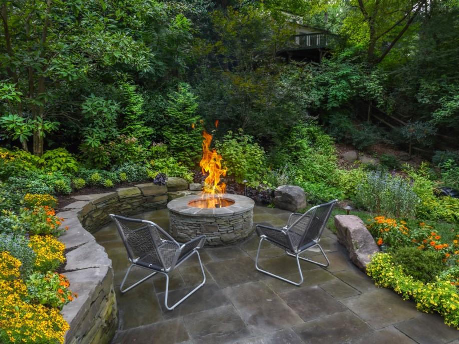 Firepit with garden beds, Landscape Design