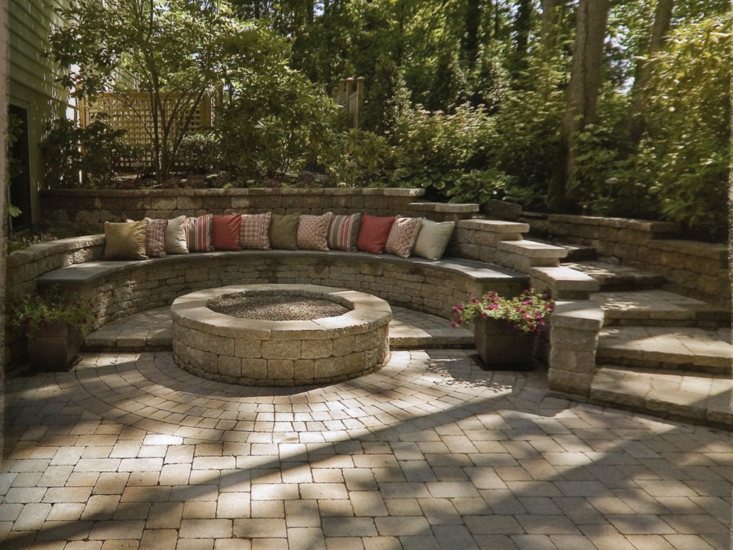 Large Firepit with Stone Bench, Landscape Design