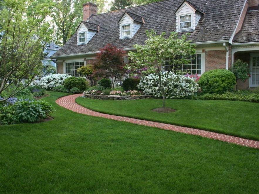 Azalea Foundation Plantings with brick sidewalk