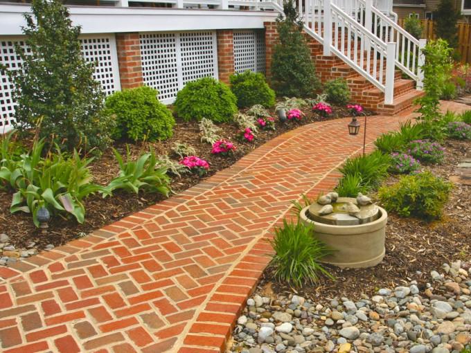 Brick Walk with Boxwood and Perennials