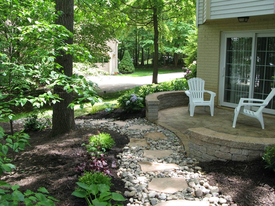 Cement Patio with Dry Stream Bed