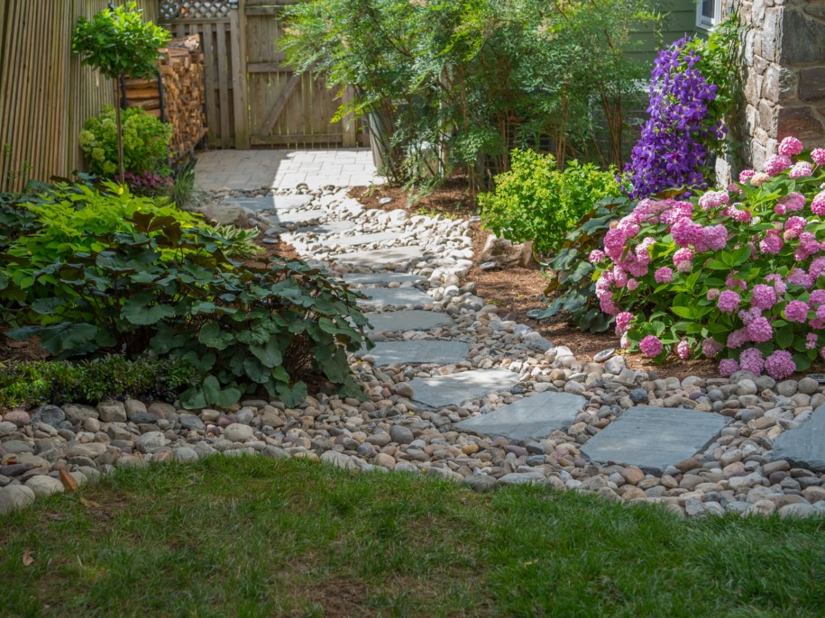 Dry Stream Bed for Drainage with Stepping Stones