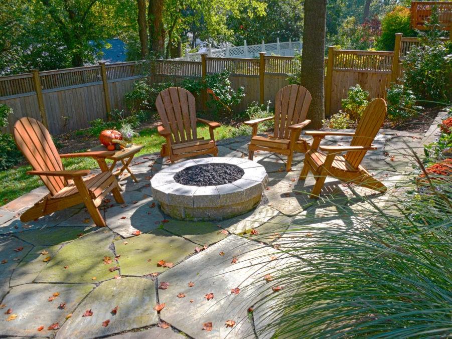 Slate Patio with Firepit, Landscape Design