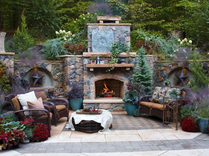 Cobblestone Fireplace on Stone and Slate Patio, Landscape Design
