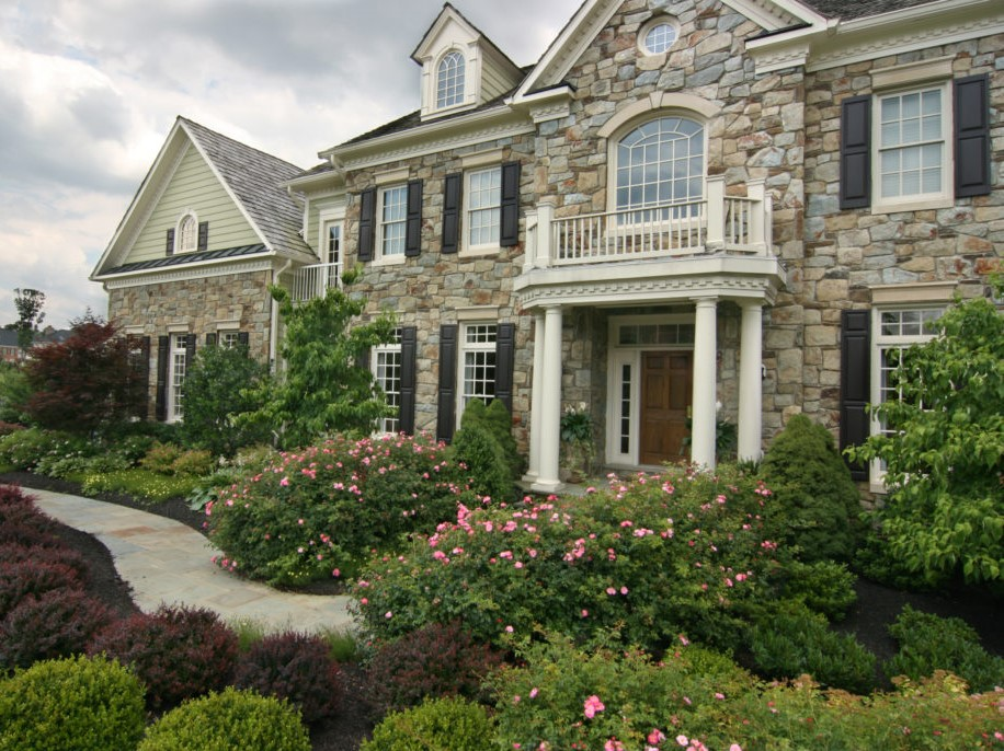 Formal Foundation Plantings - Roses and Boxwood