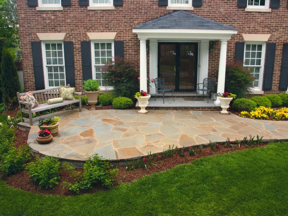 Slate Patio at Front Door, Hardscape, Landscape Design