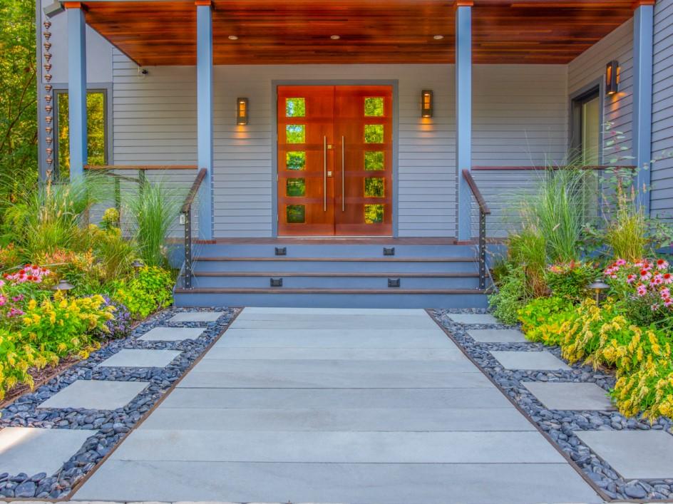 Modern Walkway with Perennial Plantings