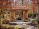 Modern Wood Gazebo, Fall Landscape
