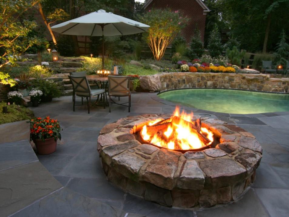 Poolside Firepit on Slate Patio, Landscape Design