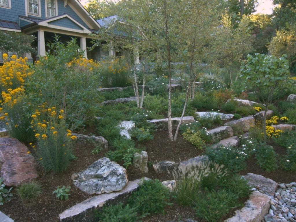 Rock Garden with Perennial Plantings, Landscape Design, Hardscape