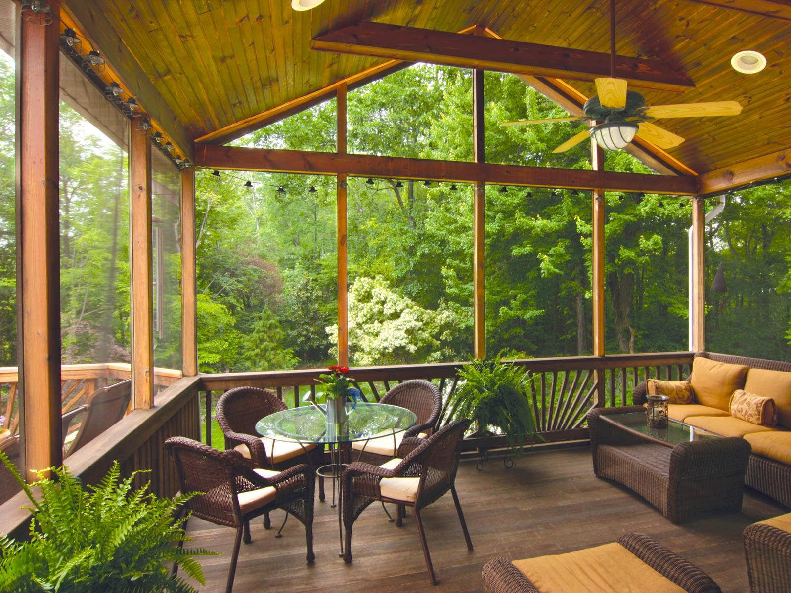Screened-in wood porch, Hardscape, landscape design