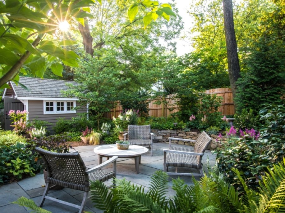 Patio in Shade Garden, Landscape Design, Hardscape