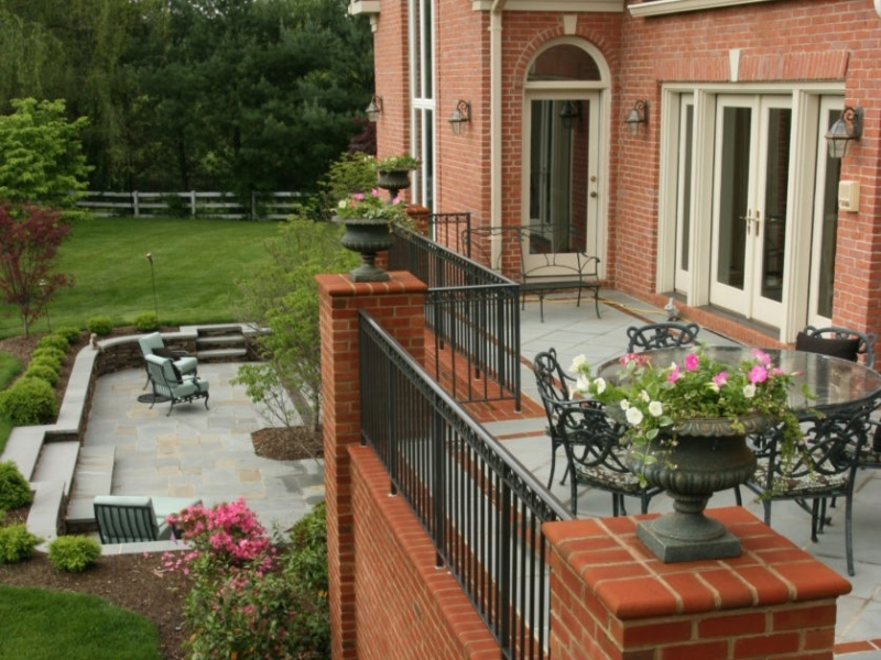 Two Level Brick and Stone Patio